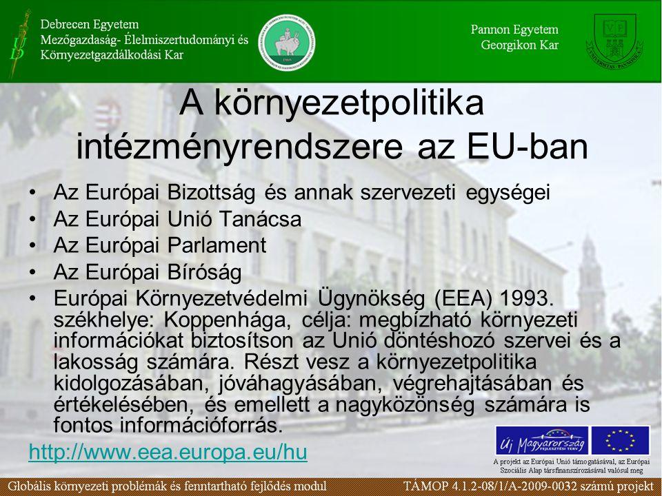 A környezetpolitika intézményrendszere az EU-ban