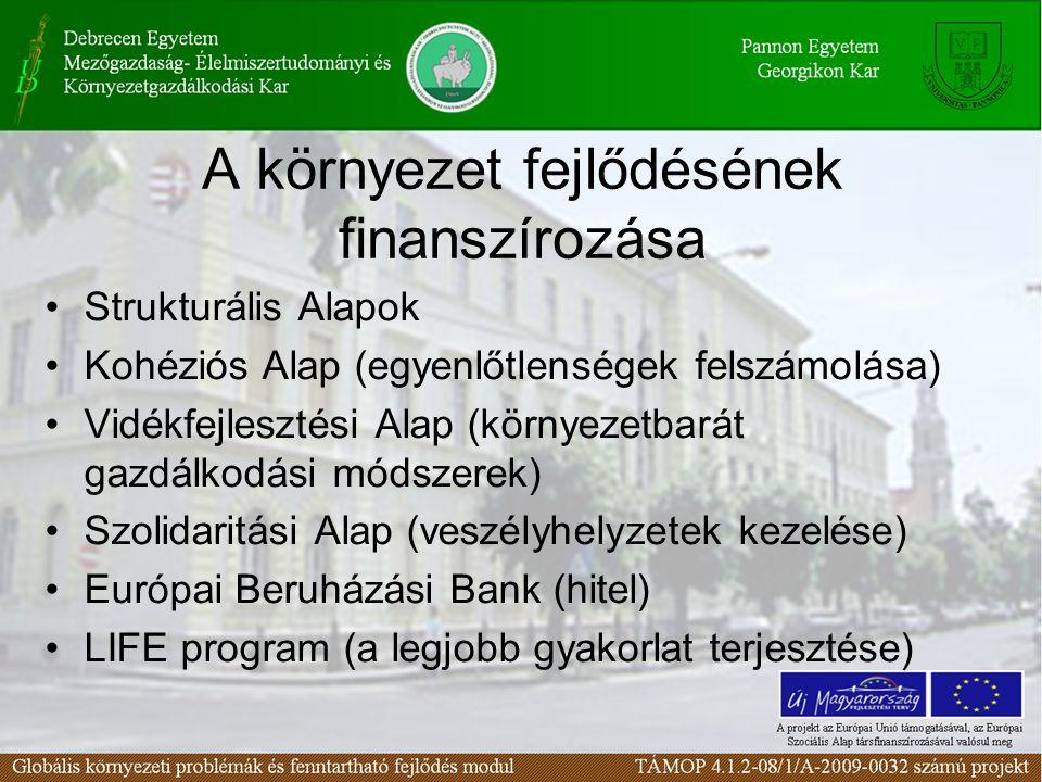A környezet fejlődésének finanszírozása