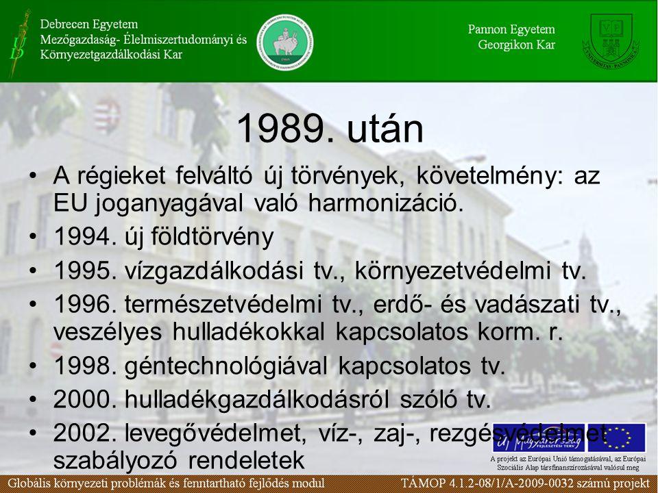 1989. után A régieket felváltó új törvények, követelmény: az EU joganyagával való harmonizáció. 1994. új földtörvény.
