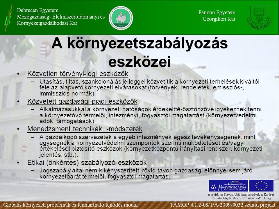 A környezetszabályozás eszközei