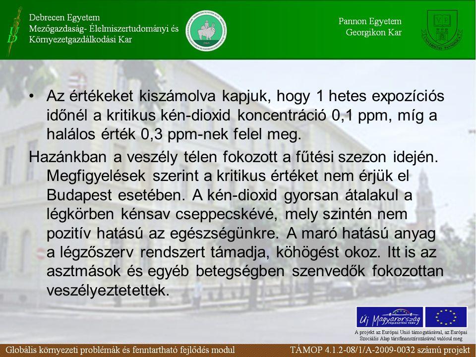 Az értékeket kiszámolva kapjuk, hogy 1 hetes expozíciós időnél a kritikus kén-dioxid koncentráció 0,1 ppm, míg a halálos érték 0,3 ppm-nek felel meg.
