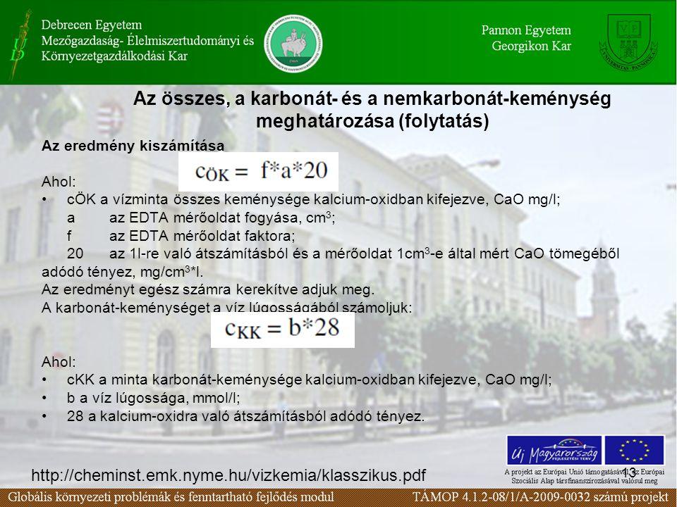 Az összes, a karbonát- és a nemkarbonát-keménység meghatározása (folytatás)