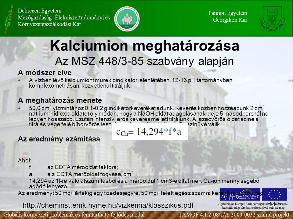 Kalciumion meghatározása Az MSZ 448/3-85 szabvány alapján