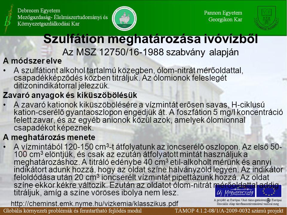 Szulfátion meghatározása ivóvízből Az MSZ 12750/16-1988 szabvány alapján