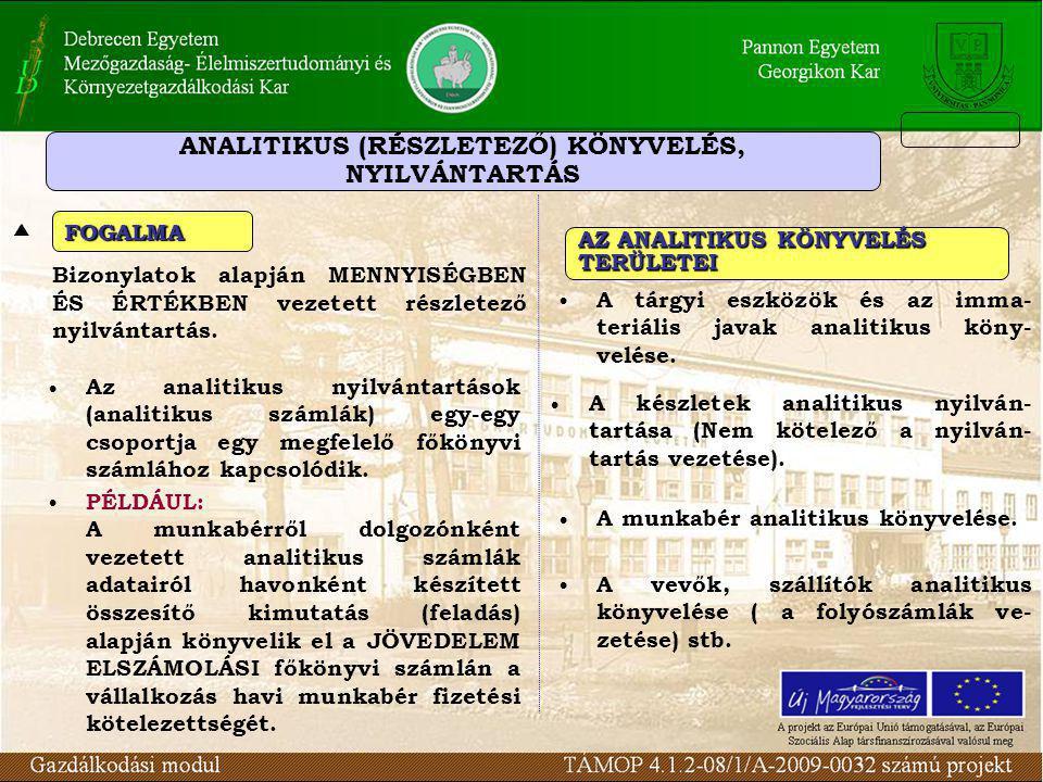 ANALITIKUS (RÉSZLETEZŐ) KÖNYVELÉS,