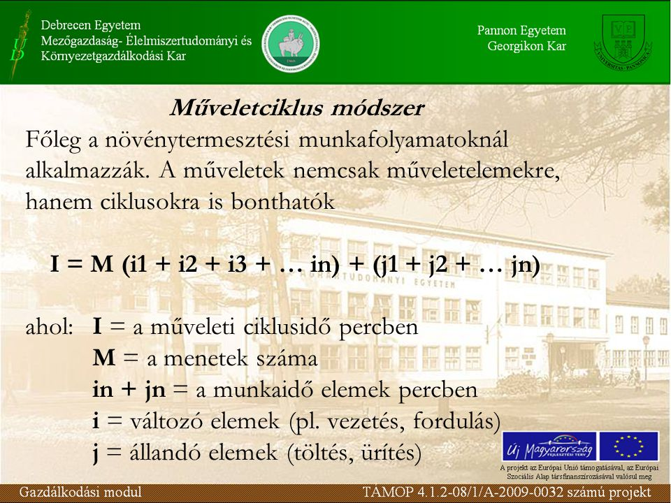 Műveletciklus módszer I = M (i1 + i2 + i3 + … in) + (j1 + j2 + … jn)