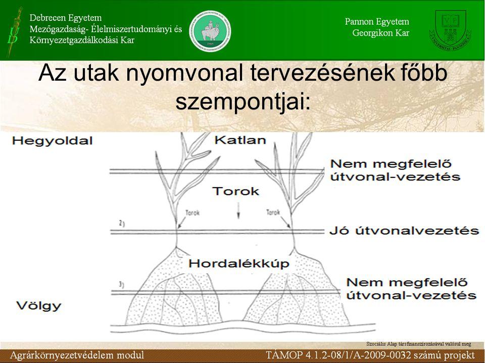 Az utak nyomvonal tervezésének főbb szempontjai: