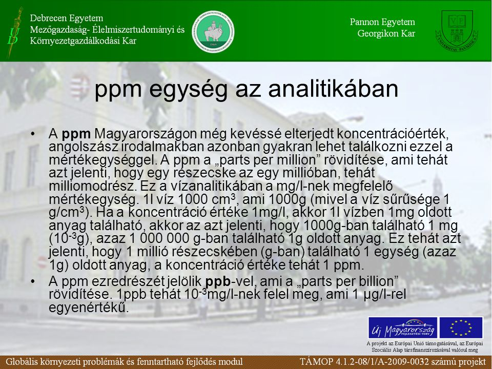 ppm egység az analitikában