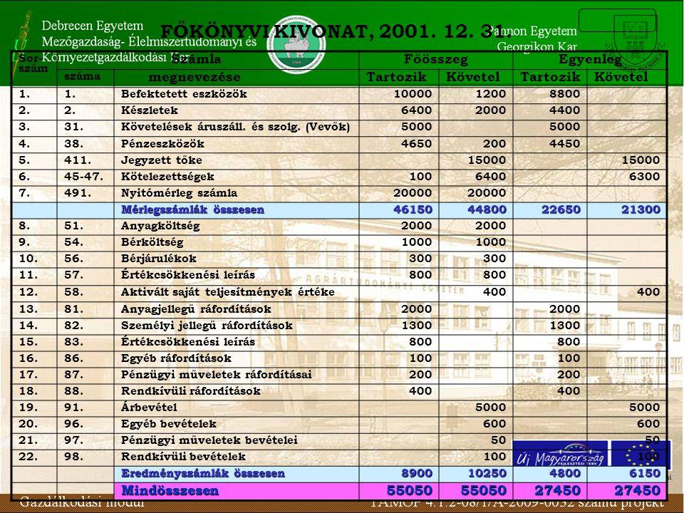 FŐKÖNYVI KIVONAT, 2001. 12. 31. Számla Főösszeg Egyenleg megnevezése