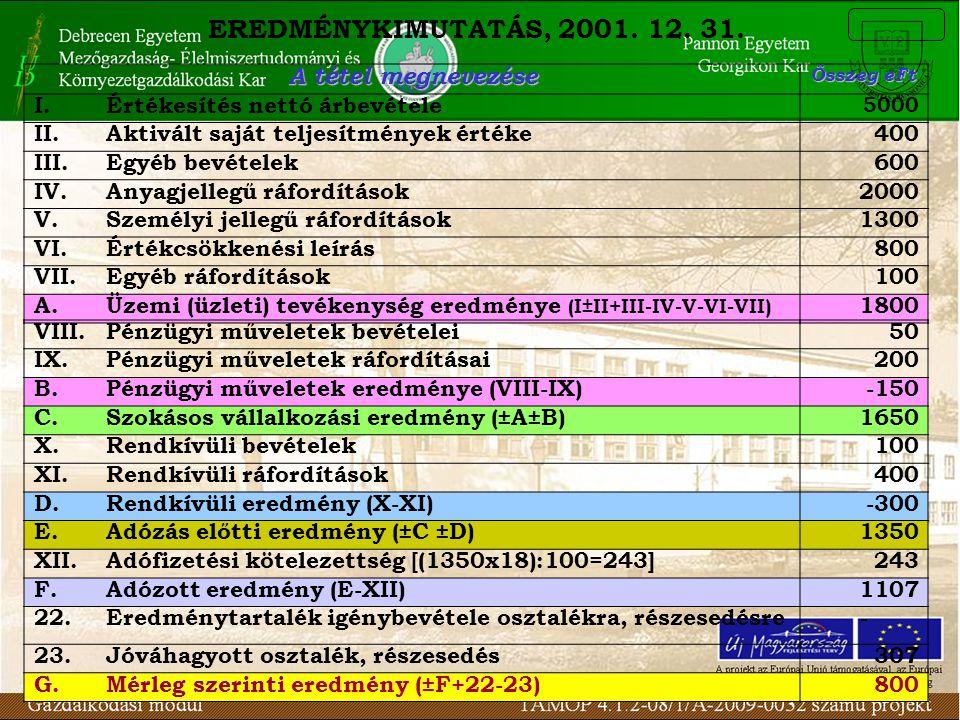 EREDMÉNYKIMUTATÁS, 2001. 12. 31. A tétel megnevezése I.