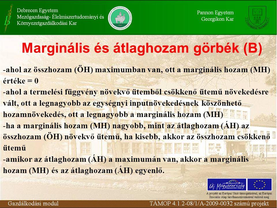 Marginális és átlaghozam görbék (B)