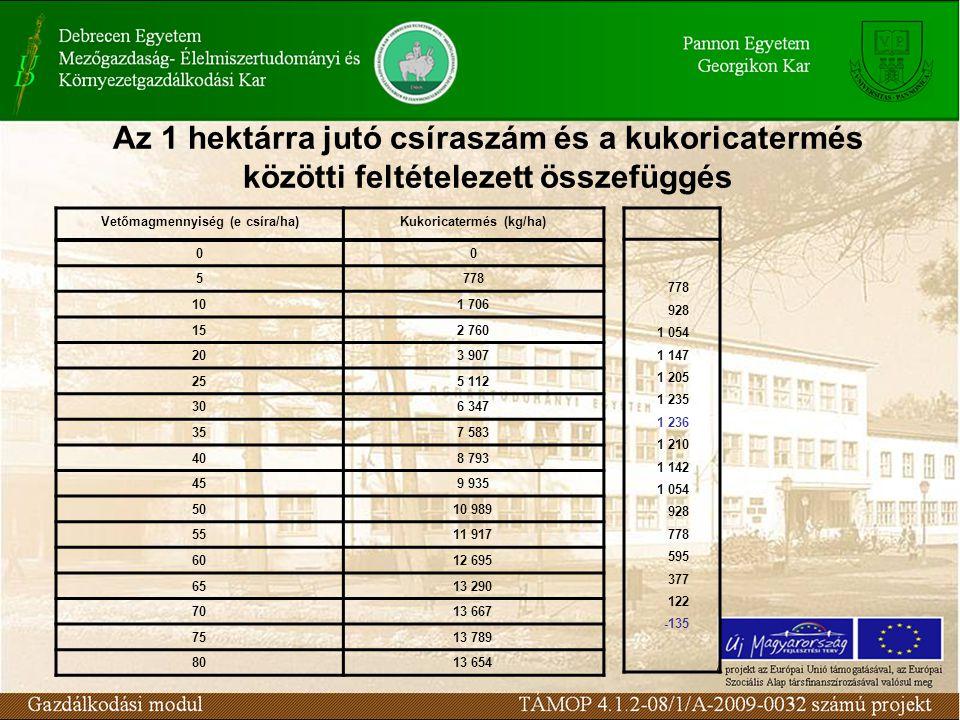 Vetőmagmennyiség (e csíra/ha) Kukoricatermés (kg/ha)