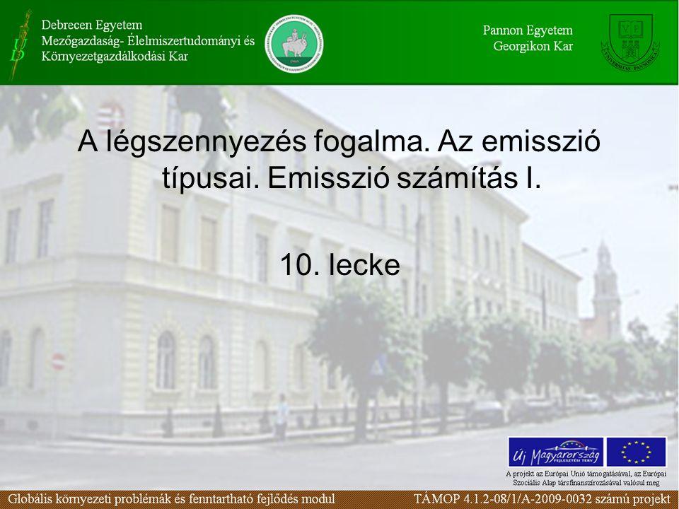 A légszennyezés fogalma. Az emisszió típusai. Emisszió számítás I. 10