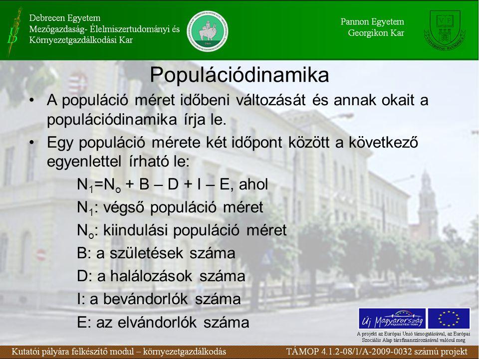 Populációdinamika A populáció méret időbeni változását és annak okait a populációdinamika írja le.