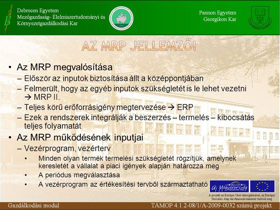 Az MRP működésének inputjai