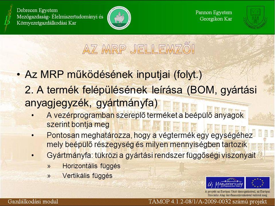Az MRP működésének inputjai (folyt.)