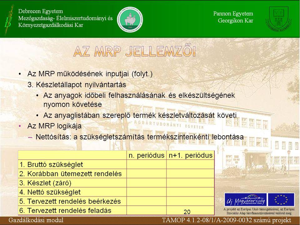 Az MRP működésének inputjai (folyt.) 3. Készletállapot nyilvántartás
