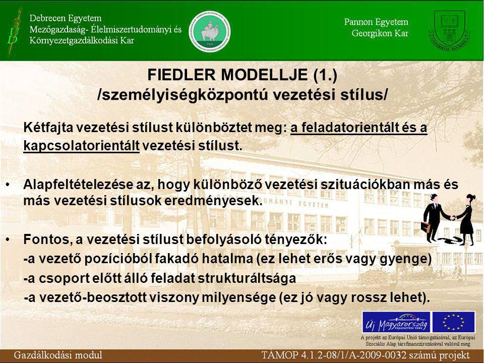 FIEDLER MODELLJE (1.) /személyiségközpontú vezetési stílus/