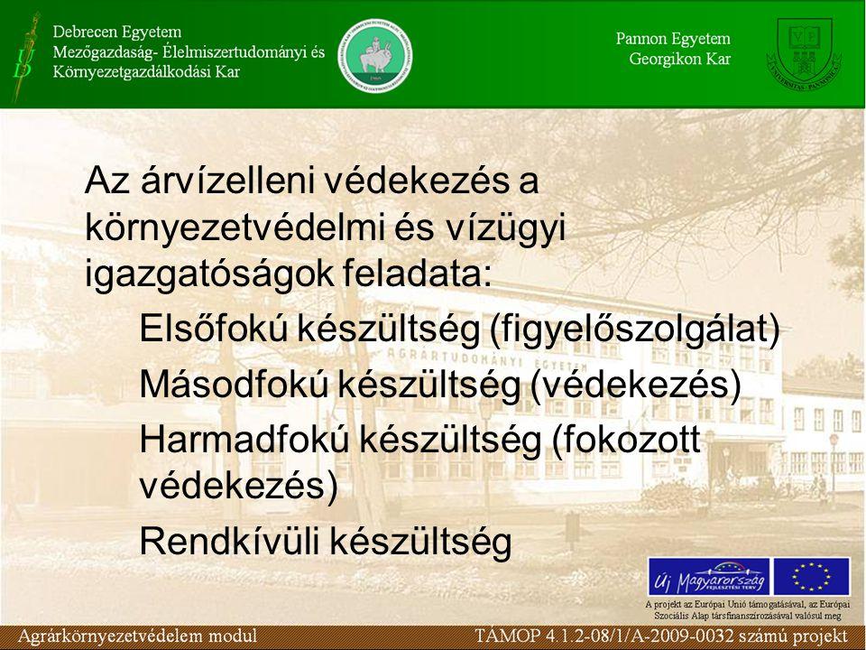 Az árvízelleni védekezés a környezetvédelmi és vízügyi igazgatóságok feladata: