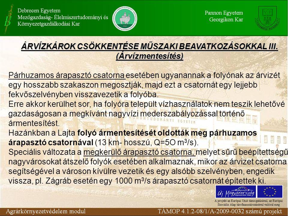 ÁRVÍZKÁROK CSÖKKENTÉSE MŰSZAKI BEAVATKOZÁSOKKAL III. (Árvízmentesítés)