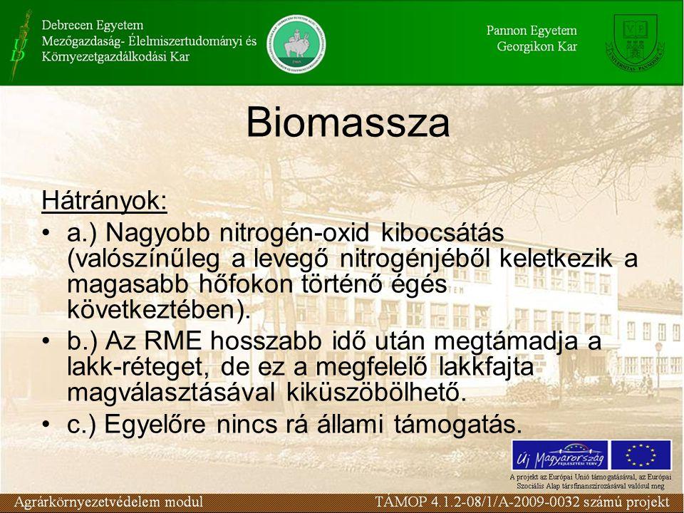 Biomassza Hátrányok: