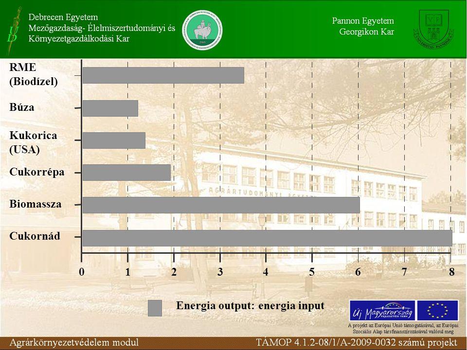 Cukornád Biomassza. Cukorrépa. Kukorica. (USA) Búza. RME. (Biodízel) Energia output: energia input.