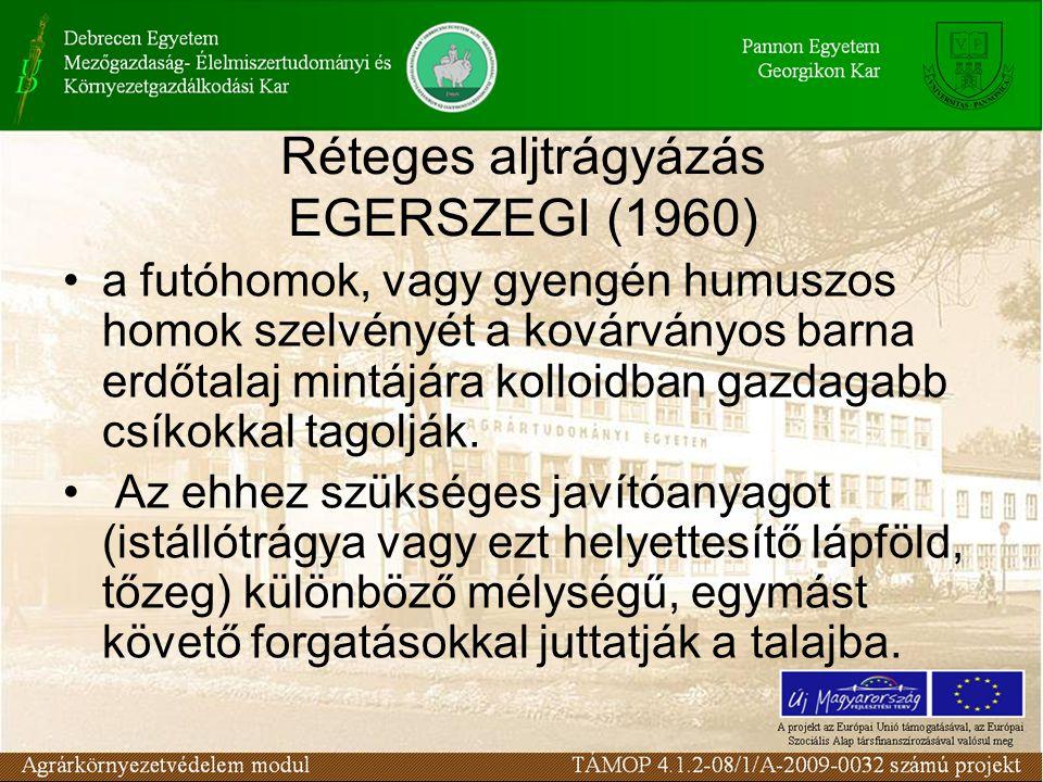 Réteges aljtrágyázás EGERSZEGI (1960)