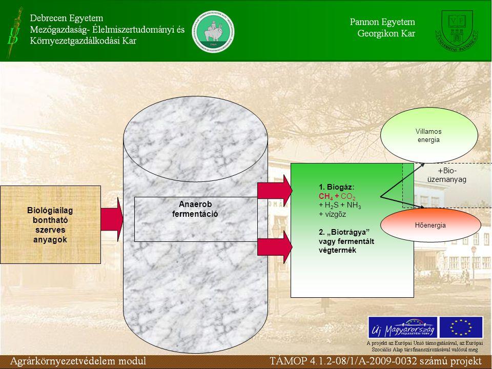 Biológiailag bontható szerves anyagok Anaerob fermentáció