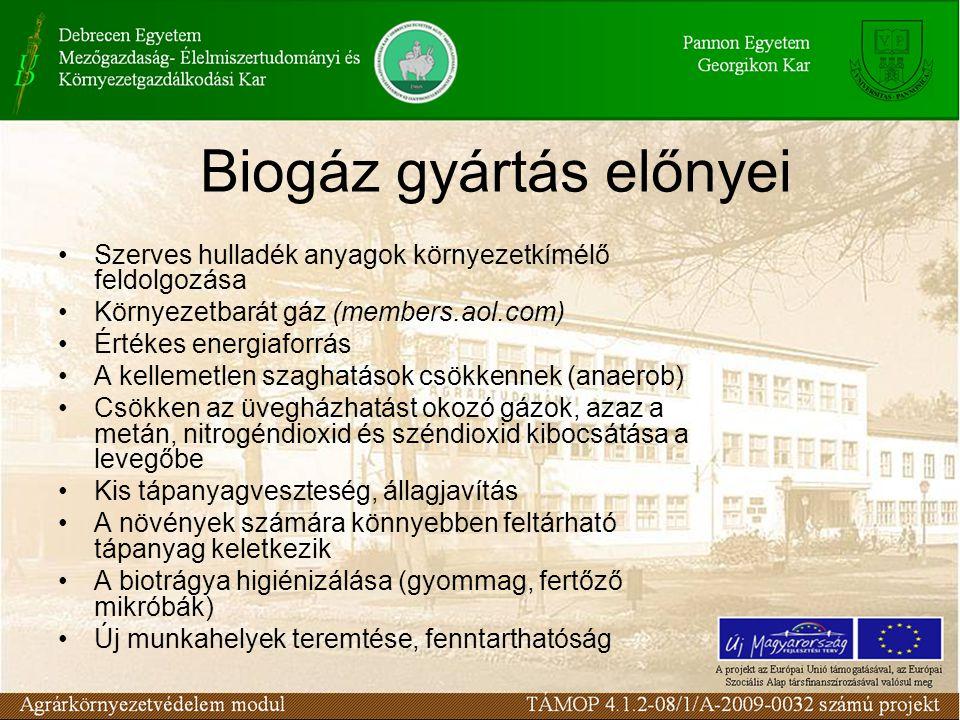 Biogáz gyártás előnyei
