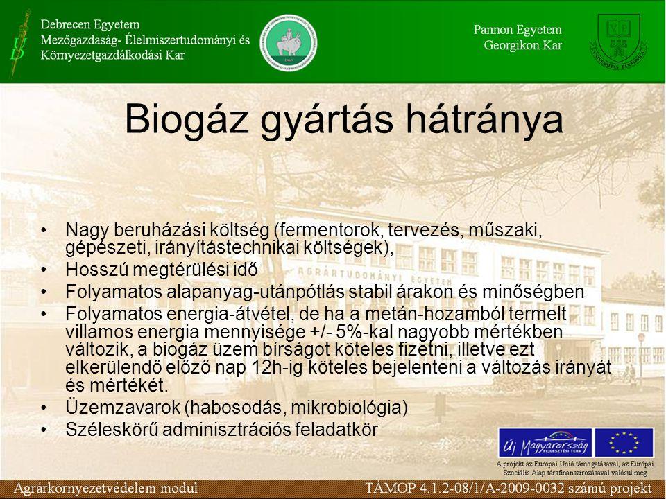 Biogáz gyártás hátránya