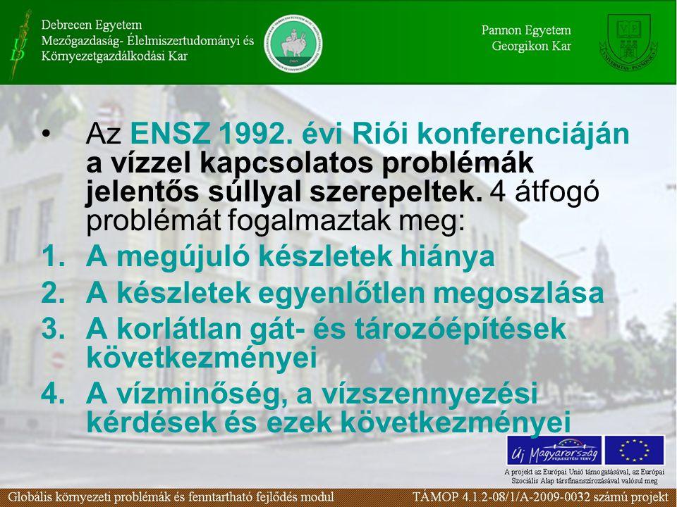 Az ENSZ 1992. évi Riói konferenciáján a vízzel kapcsolatos problémák jelentős súllyal szerepeltek. 4 átfogó problémát fogalmaztak meg: