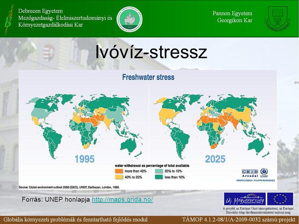Ivóvíz-stressz Forrás: UNEP honlapja http://maps.grida.no/