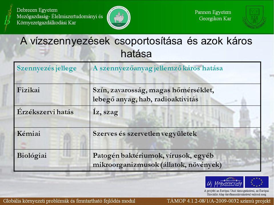 A vízszennyezések csoportosítása és azok káros hatása