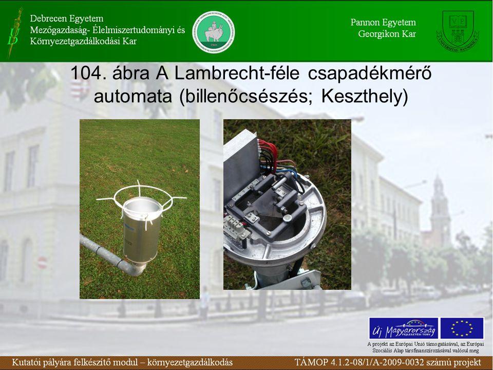 104. ábra A Lambrecht-féle csapadékmérő automata (billenőcsészés; Keszthely)