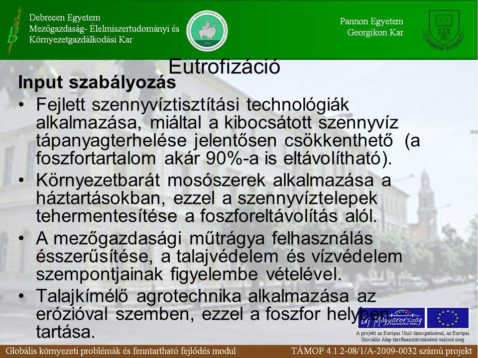 Eutrofizáció Input szabályozás