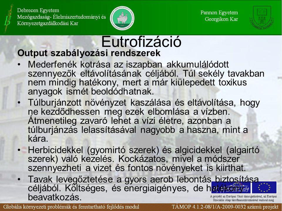 Eutrofizáció Output szabályozási rendszerek