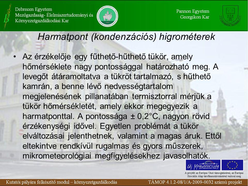 Harmatpont (kondenzációs) higrométerek