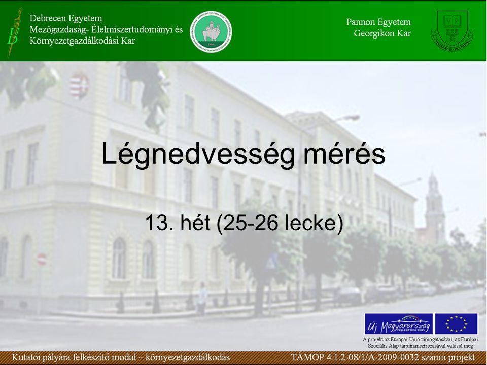 Légnedvesség mérés 13. hét (25-26 lecke)