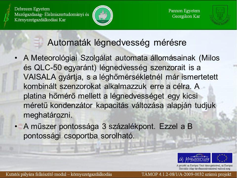Automaták légnedvesség mérésre