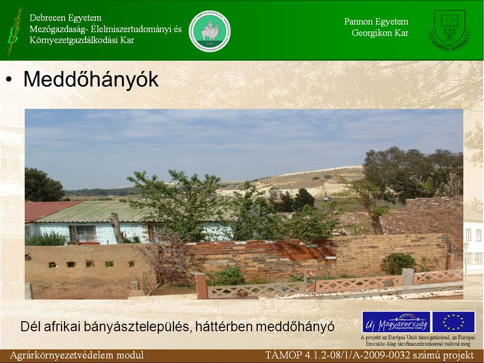 Dél afrikai bányásztelepülés, háttérben meddőhányó