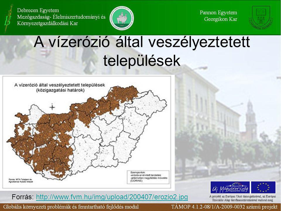 A vízerózió által veszélyeztetett települések