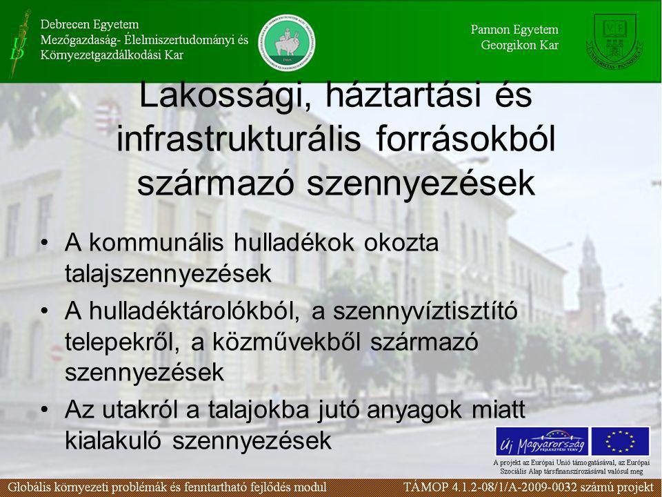 Lakossági, háztartási és infrastrukturális forrásokból származó szennyezések
