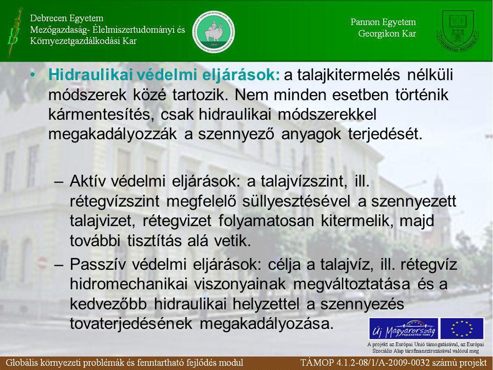 Hidraulikai védelmi eljárások: a talajkitermelés nélküli módszerek közé tartozik. Nem minden esetben történik kármentesítés, csak hidraulikai módszerekkel megakadályozzák a szennyező anyagok terjedését.