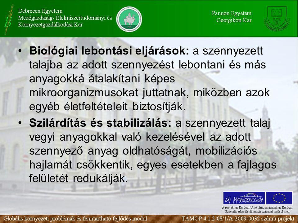 Biológiai lebontási eljárások: a szennyezett talajba az adott szennyezést lebontani és más anyagokká átalakítani képes mikroorganizmusokat juttatnak, miközben azok egyéb életfeltételeit biztosítják.