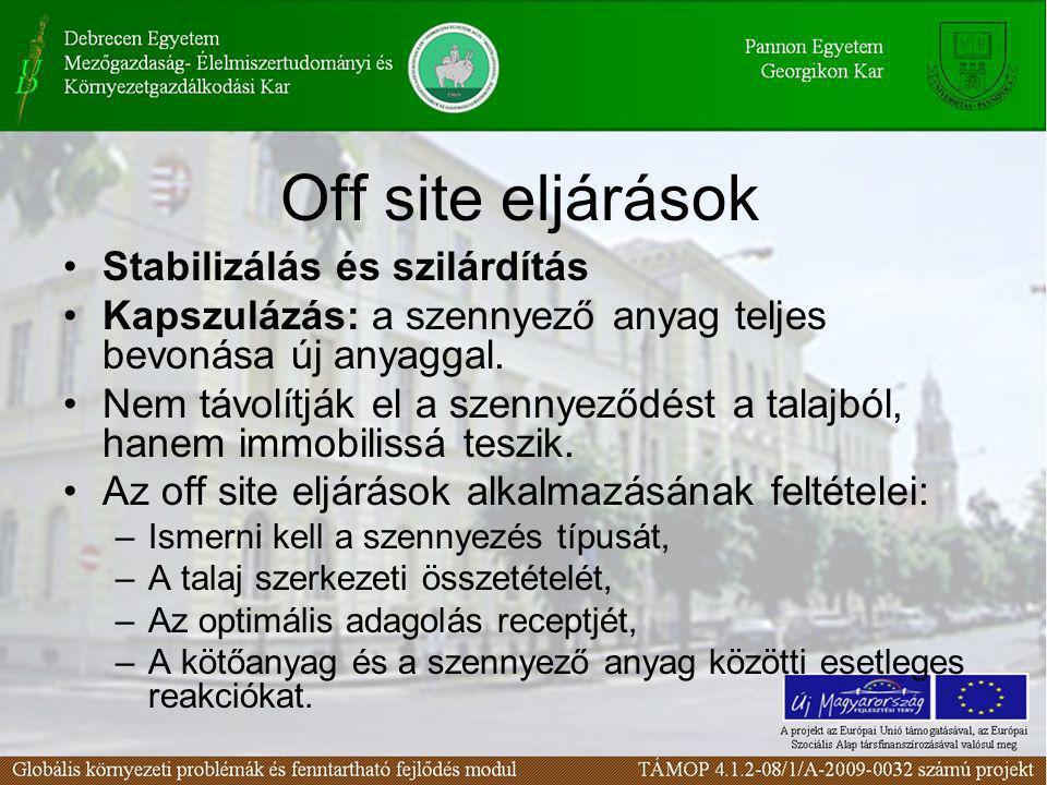 Off site eljárások Stabilizálás és szilárdítás