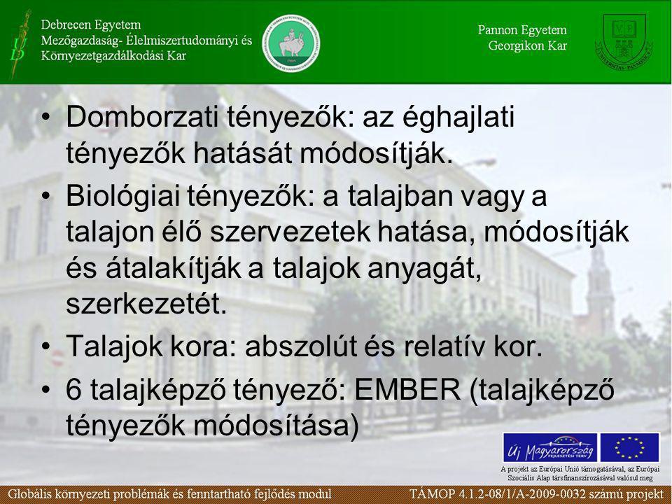 Domborzati tényezők: az éghajlati tényezők hatását módosítják.