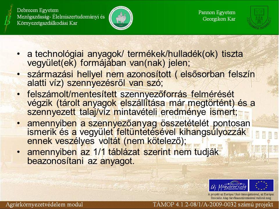 a technológiai anyagok/ termékek/hulladék(ok) tiszta vegyület(ek) formájában van(nak) jelen;