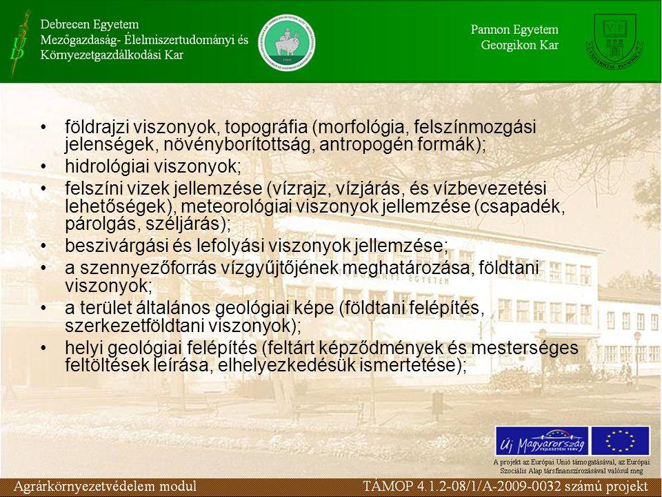 földrajzi viszonyok, topográfia (morfológia, felszínmozgási jelenségek, növényborítottság, antropogén formák);