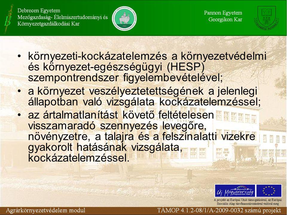 környezeti-kockázatelemzés a környezetvédelmi és környezet-egészségügyi (HESP) szempontrendszer figyelembevételével;