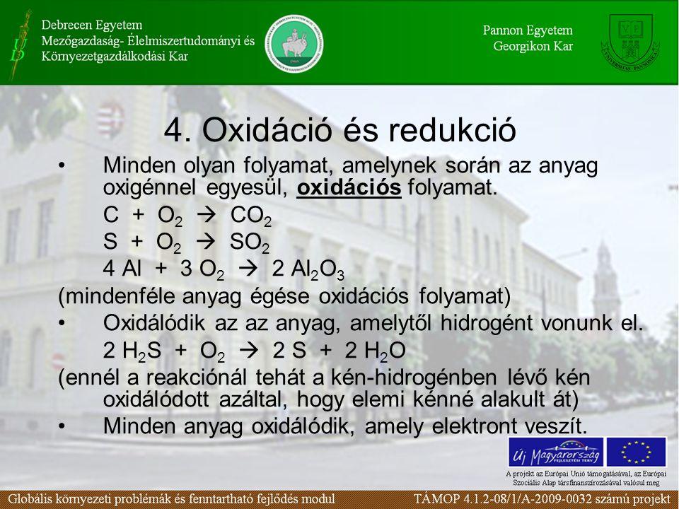 4. Oxidáció és redukció Minden olyan folyamat, amelynek során az anyag oxigénnel egyesül, oxidációs folyamat.